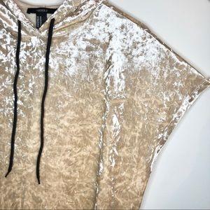Crushed velvet short sleeve hoodie